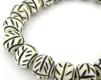 Hand Carved Ox Bone Beads - 12x9mm Ox bone -  3mm Large hole Bead Boho Tribal Beads Jewelry Supplies SKU-BSS-13