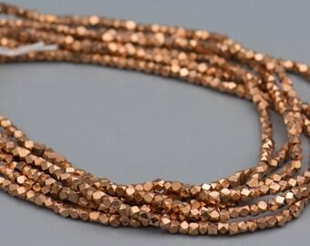 Faceted Metal 4mm Cornerless Cube Diamond Cut Copper Beads 200 Beads SKU-MCC4C-28