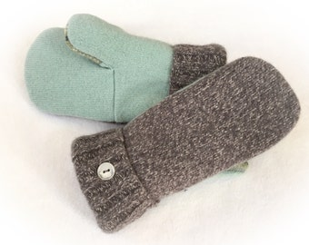 Sweater Mittens, Recycled Sweater Mittens, Women's Mittens, Fleece Lined Mittens, , Blue and Gray Wool Mittens