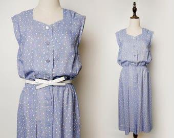 Blue Women Vintage Dress White Cloud Print Pleated 1960s Sleeveless V Neck Size M