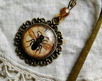 Honey Bee / Worker Bee brass book hook bookmark with dangling glass cabochon accent