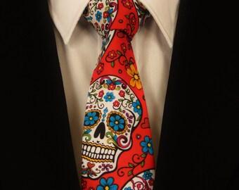 Red Skull Necktie, Red Skull Tie, Red Sugar Skull Tie, Sugar Skull Necktie, Candy Skull Necktie, Candy Skull Tie, Mens Necktie, Mens Tie