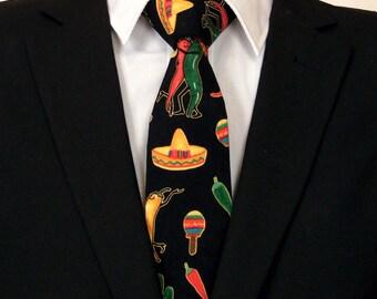Hot Pepper Necktie, Hot Pepper Tie, Mens Necktie, Mens Tie, Sombrero, Mexican, Cinco De Mayo, Red, Green, Yellow, Black, Fathers Day, Dad