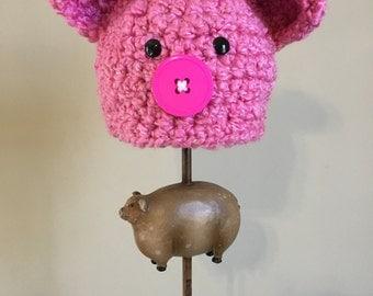 Crochet Pink Pig Hat, Baby Hat, Little Pink Piggy Hat, Piglet Hat, Newborn Pig Hat, Photo Prop