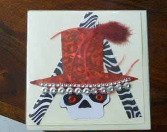 Carnival Collection 2017 - Midnight Robber Greeting Card - Red, black & white