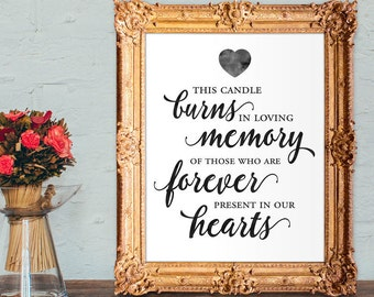 Wedding memorial sign - this candle burns in loving memory of those forever present in our hearts - 8x10 - 5x7 PRINTABLE