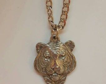 Tiger Head Pewter Pendant Necklace