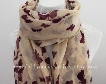 plum butterfly scarf, butterfly shawl, spring scarf, summer scarf, beach sarong, gift for her, for her, for women, womens scarves