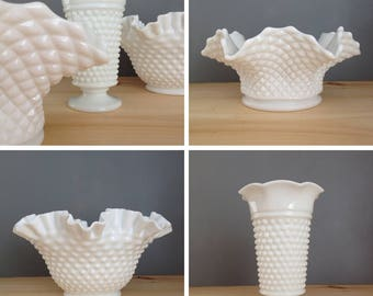 Vintage Collection of Milk Glass Bowls and Vase,Set of 3,Hobnail,Ruffled,Crimped,Diamond Cut,Wedding,Bridal Shower,Baby Shower,Tea Party
