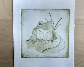 Froggy Print - Nonprofit Wall Art - Made in San Francisco - Frog Illustration - Printmaking - Etching Print - 8X10 inch