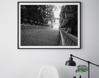 Tokyo Shinto Shrine Photography, Print, Canvas, Japanese Photography, Tokyo Photography, Shinto Shrine, Asian Wall Art, Steps Photography