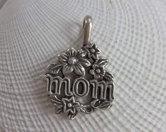 Mom Flower Vintage Silver 925 Charm, Mother''s Day Gift - FREE SHIPPING within USA