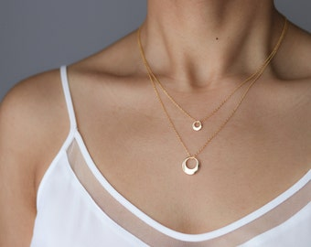 Layered Necklace - Delicate Gold Necklace - Bohemian Jewelry - Crescent Moon Necklace - Gift for Mom - Pendant Necklace - Minimalist Jewelry