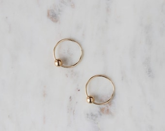 Minimalist Hoop Earrings - Gold Filled Earrings - Circle Earrings - Everyday Jewelry - Gift for Her - Simple Hoops