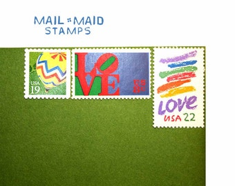 Love and Balloons || set of unused vintage postage stamps to mail 5 standard letters