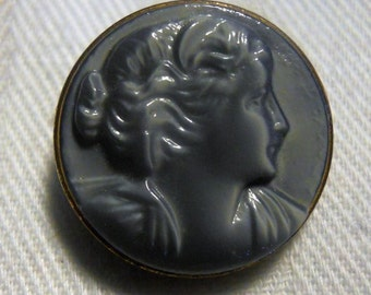 Vintage Glass Button~ Pretty Gray Raised Cameo with gold rim~ Listing is for ONE buttons  ~ Elegant Color at 11/16th inch