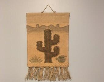 Vintage handwoven jute wall hanging