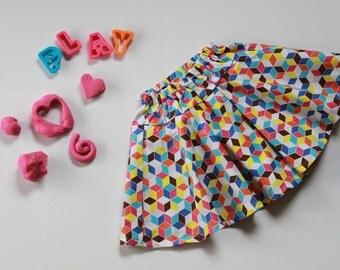 Girls skirt, twirly skirt, size 4 circle skirt, toddler skirt, girls swing skirt, drop waist skirt, built in shorts, skort