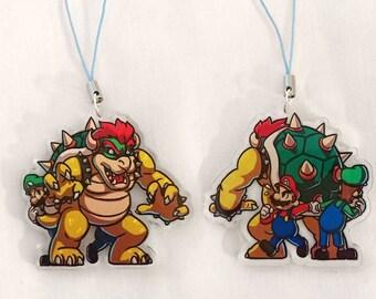 Mario, Luigi and Bowser double-sided acrylic charm