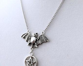 Bat Pentagram, Bat Pendant, Witchy Jewelry, Bat Jewelry, Gothic Jewelry, Bat Necklace, Pentacle Pendant, Pentagram Necklace, Silver Bat