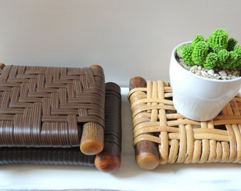 Rustic Woven Plant Stands, zen plant stands, minimalist plant stand, natural fiber plant stand, earthy plant stand