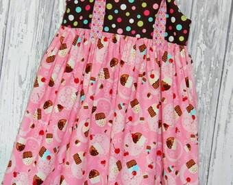 SALE 25% off, Girls Dress, Birthday Dress, Cupcake Dress, Knot Dress, Spring Dress, Size 7/8 dress, Ready to ship