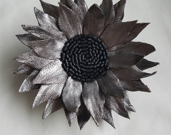 Gun metal / pewter genuine leather brooch / corsage / hairtie
