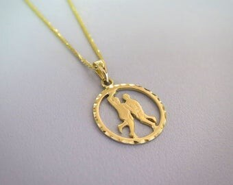 Gold Gemini Necklace - Gemini Necklace - Gold Gemini Pendant - Gold Zodiac Necklace - Gold Zodiac Pendant - Gemini Jewelry - Zodiac Jewelry