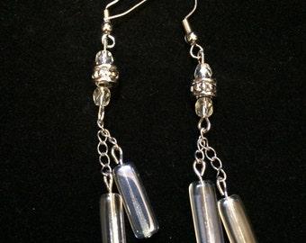Blue Czech Glass Crystal Earrings