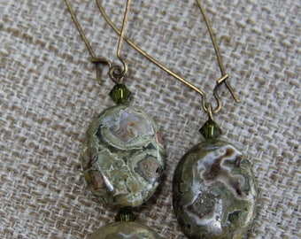 Australian Rainforest Jasper & Agate Swarovski Earrings green peridot