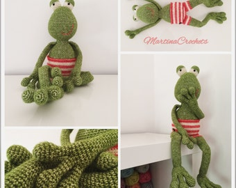 Frog soft toy, crochet toy, cotton stuffed toy, softie, plushie
