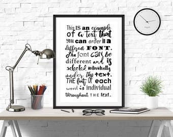 different font poster, omnifarious font, different lettering, different typography, multifarious font, different text quote, different