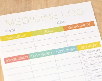 Printable Medicine Log/Tracker - Two Logs a Sheet