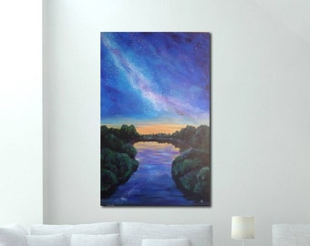 Milky Way Painting Night Landscape River  Original Acrylic Painting Large Painting Large Wall Decor