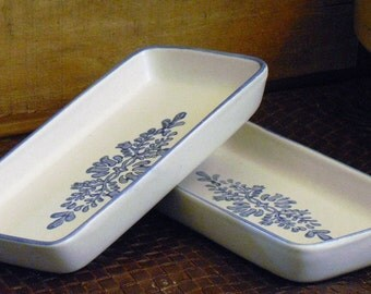 Vintage Pfaltzgraff Relish Tray in Yorktowne, White Stoneware with Blue Floral Design, Farmhouse Style, Country Decor, Pickle Tray Dishes
