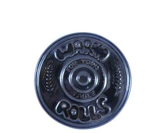 Vintage 1970s Frankoma Bread Warmer...Black Wheat...Round...Made in USA...Glaze Pottery...Kitchen Decor...Bun Warmer