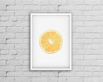 Orange Print, Orange Decor, Fruit Poster, Kitchen Fruit Print, Modern Print, Photo Art, Wall Art Print, Modern Kitchen Print, Modern Minimal