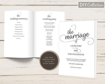 Folded Wedding Program Template, Printable Wedding Program, Kraft Wedding Programs, Editable Template  #GD_WP116