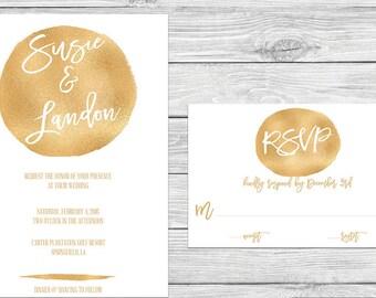 Foil Gold White Invitation RSVP Printable Digital Invite