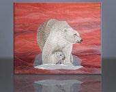 Wildlife Polar Bear & Cub Alaska Fiber Art Canvas Wall Art Embroidered Quilted 8x10 by Mary Brader #612