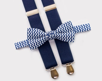 navy bowtie and navy suspenders, brother birthday gift, bow tie suspenders for adult