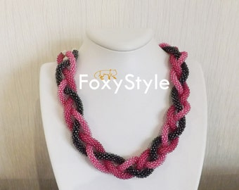statement pink necklace pink crochet necklace bib pink necklace modern gift for women everyday rose necklace dainty pink necklace mom gift