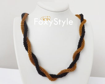 beaded necklace christmas golden jewelry yellow necklace black necklace modern necklace boho statement everyday necklace gift for sister