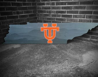 Tennessee Wood Cutout Wall Hanger - Tennessee Vols Classic UT - Gray Smoky Mountains - Wall Decor