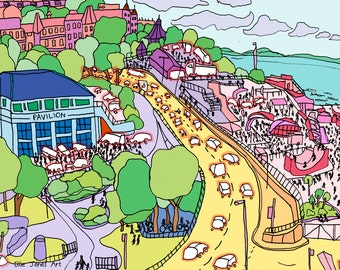 "Bournemouth 15x10"" Poster Print, Colourful, Town, Summer, Beach, Seaside"