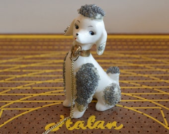 White and Gray Poodle with Chain Figurine