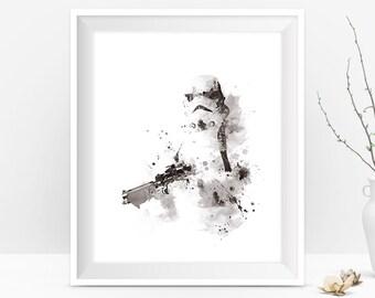 Stormtrooper Print Watercolor Art Star Wars Poster Splatter Birthday Gift StormTrooper Star Wars Gift Black And White Movie Digital Download