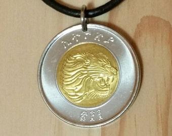 Lion coin necklace pendant, Ethiopia 1 Birr Lion necklace, African Ethiopian Lion coin, Animal leo coin Pendant Necklace.