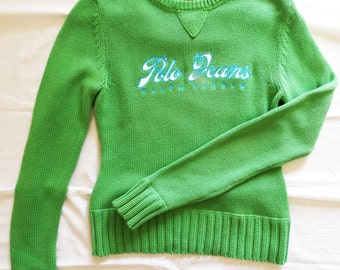 Polo Ralhp Lauren green knitted cotton pullover sweater long sleeved fall winter Polo Jeans size 6  S XS Vintage