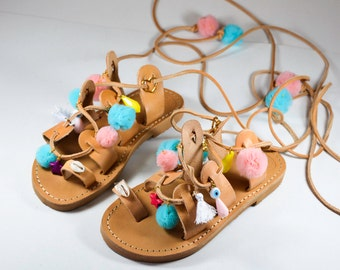 Girls Leather Sandals, Boho Sandals, Gladiator Sandals, Pom Pom Sandals, Lace up Sandals, Made in Greece from 100% Genuine Leather.